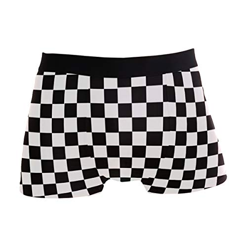 Naanle Racing Flag Checkers Mens High Waistband Boxer Briefs Stretch Trunk