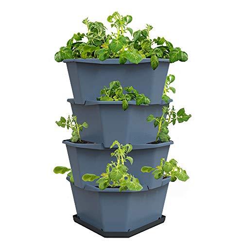 GUSTA GARDEN Paul Potato Starter Kartoffelturm - stapelbar - Hochbeet/Pflanzgefäß/Blumentopf für Balkon, Garten und Terrasse (4 Etagen, Blau) inkl. Untersetzer