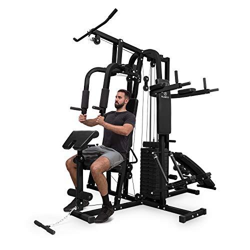 Klarfit Ultimate Gym 9000 - Estación de Entrenamiento, paralelas, Banco declinado, Escalera, Curl, Prensa para Pierna, contractora y jalones, más de 100 Ejercicios para 2 Personas, MAX. 150kg, Negro