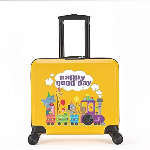 FGHHJ Equipaje para niños de 18 Pulgadas, Muchacha, niña, pequeña Maleta, Equipaje de Viaje con 4 Ruedas, cartón, Carcasa Dura, Peso Ligero,Yellow Animal