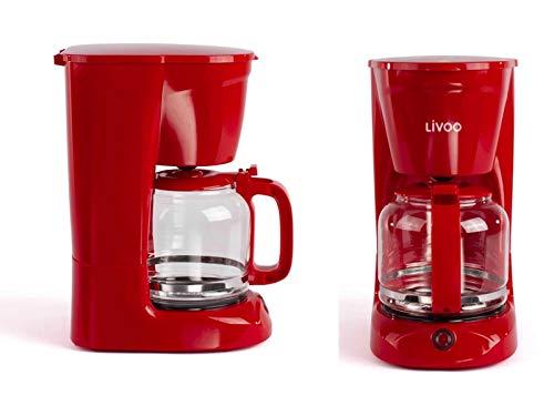 Cafetière rouge avec verseuse en verre pour 15 tasses Fonction maintien au chaud (machine à café, cuillère à café, arrêt automatique, indicateur de niveau d'eau)
