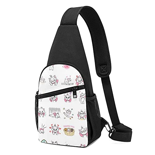 Brusttasche A-Risto-Cats Cartoon Crossbody Bags for Woman and Man Multifunction Sling Bag Chest Package Shoulder Backpack Travel, Hiking, Camping, Cycling, Casual Daypack