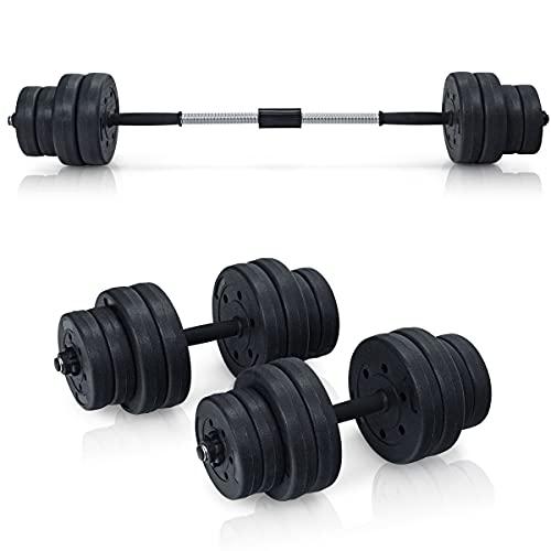 RELAX4LIFE 2 in 1 Hantel Set 30 kg, Ink. 16 Hantelscheiben & Verbindungrohren, wechselbare Gewichten(8 x 2,5kg / 8 x 1,25 kg), für Turnhalle & Büro & Zuhause, Trainingset für Männer & Frauen, Eisen