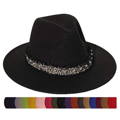 Xiang Ru Sombreros Fedora de fieltro de ala ancha para hombres y mujeres, 2 piezas de cuero extraíble y banda de perlas