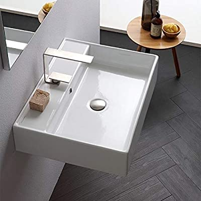 Scarabeo 8031/R-60-One Hole Teorema Rectangular Ceramic Wall Mounted/Vessel Sink, White