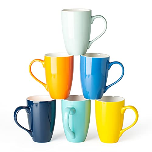 GBHOME Coffee Mugs Set of 6, Large Ceramic Coffee Mugs Set, 16 Ounce Coffee Cups for Latte,Cappuccino,Tea,Cocoa, Hot Assorted Colors