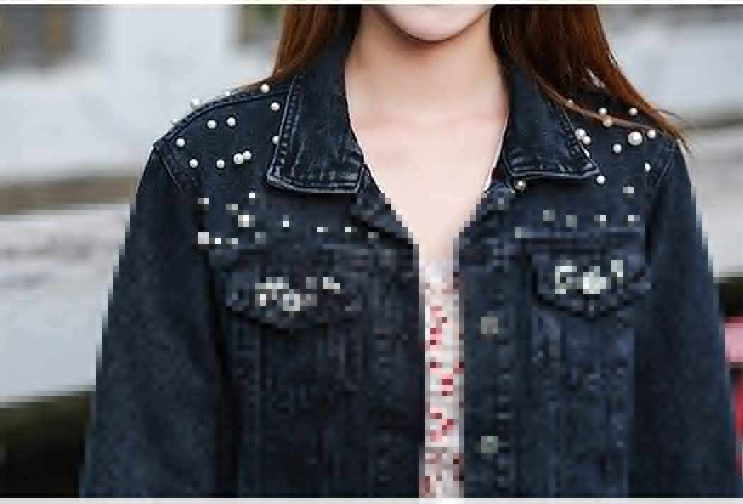 Women's Casual Embroidered Pearls Beading Denim Jacket Womens Rivet Pearl Short Denim Jackets Coat (XXX-Large,Black)