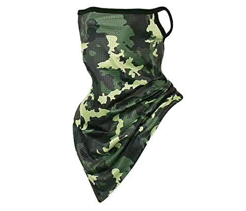 Alsino, paradenti 2 in 1, paradenti e fazzoletto per il collo, motivo perfetto, traspirante, extra lungo copre bocca, naso e collo (verde mimetico)