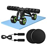 Odoland 4 Wheels AB Roller Set with Gliding Discs Jump Rope Knee Pad, Abdominal Exercise Equipment...
