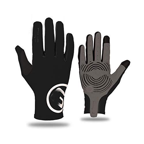 Pantalla táctil Dedos Largos y completos Gel Deportes Guantes de Ciclismo MTB Bicicleta de Carretera Guantes de Carreras Mujeres Hombres Guantes de Bicicleta - Negro, S