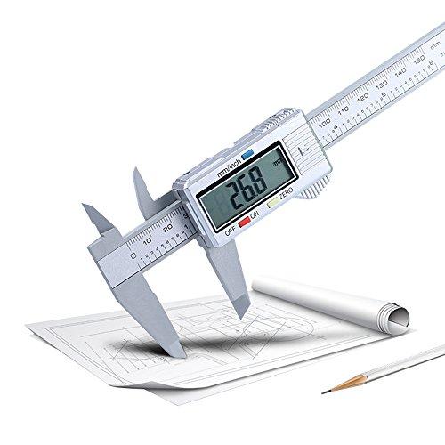 iXOOAA 150 mm / 6 Zoll LCD Digital Electronic Carbon Faser Nonius Messschieber Mikrometer Silber Messschieber