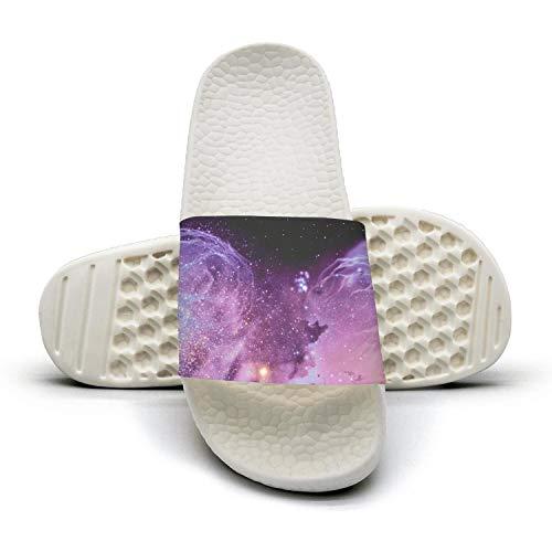 Mens Guys Best Slipper Galaxy Universe Nebula Spacewhite Lightweighted Open Toe Flat Sports Slide Sandal
