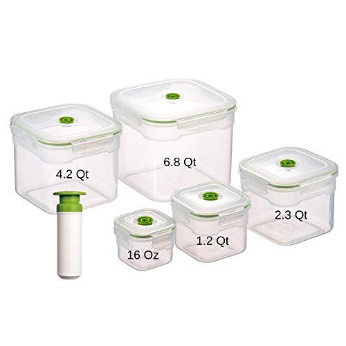 Lasting Freshness 11 Piece Vacuum Seal Food Storage Container Set, Square