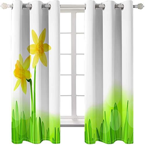 AMDXD 2 Paneles Cortina Poliester Salon, Cortina para Salon Modernas Aquarelle Pintura Flores Modernas Decoración para Habitación, Verde Amarillo, 214x244CM