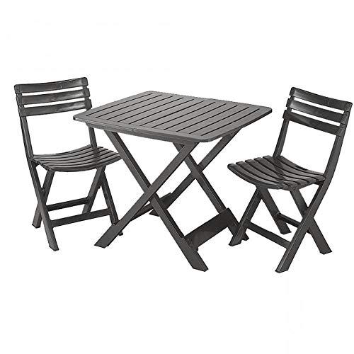 Thinia Home - Set camping antracita 1 mesa + 2 sillas