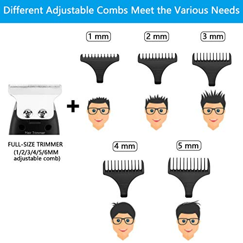 Ladsen Hair Trimmers, Men's Hair Clippers Professional Kit, Cordless Hair Clippers, Precision Removable T-blade (BLACK)