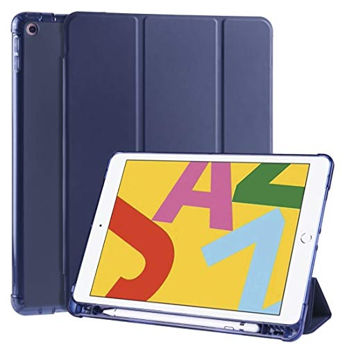 CAIFENG Phone Cover Case for iPad 10.2 inch 3-Folding Horizontal Flip PU Leather + Shockproof TPU Case with Holder & Pen Slot Protective Shell (Color : Dark Blue)