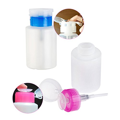 Set of 2pcs Nail Art And Make Up Cosmetics Liquids Pump Bottles Dispensers for Polish / Varnish Removers, Creams, Tonics And Lotions With Pink And Blue Lids By VAGA