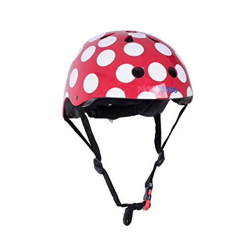 KIDDIMOTO Fahrrad Helm für Kinder - CE-Zertifizierung Fahrradhelm - Design Sport Helm für Skates, Roller, Scooter, laufrad - Rote Punkte - M (53-58cm)