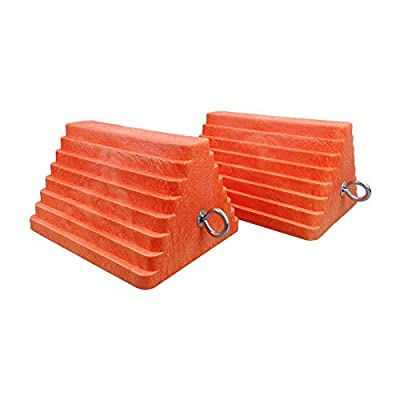 "ROBLOCK 2 Pack Wheel Chocks Heavy Duty Orange with Eyebolt for Travel Trailer, 10"" Length x 8"" Width x 5.7"" Height"