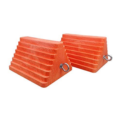 "ROBLOCK 2 Pack Wheel Chocks Heavy Duty Orange with Eyebolt for Travel Trailer, 10"" Length x 8"" Width x 5.7"" Height"
