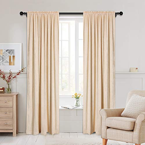Thick Double-Sided Chenille Window Curtains for Living Room Beige Curtains for Bedroom,52inchx84inch, Rod Pocket,2 Panels