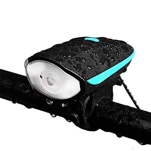 Luce Bicicletta LED | Campanello Bici | Luce LED Bici Anteriore Alta Luminosità con Campanello 90dB 4 Suoni A Batteria 3xAAA (Blu)