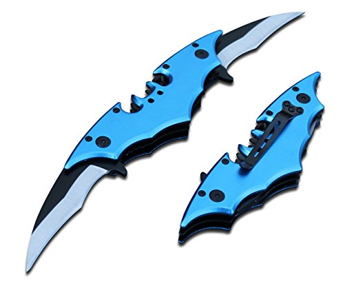 BATMAN Bat Folding Dual Twin Double Blade Spring Assisted 5 Colors Pocket Knife Tactical Belt Clip Black Yellow Silver…