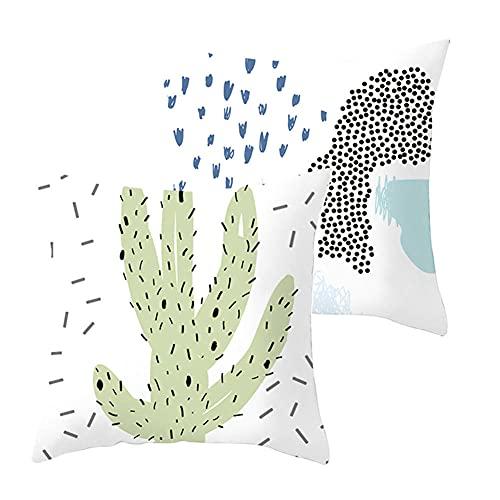 Fundas de Cojines Funda de Almohada Juego de 2 Cactus Cuadrado Terciopelo Suave Cojines Decoracion con Cremallera Invisible para Sofá Decoración Hogar Funda de Cojín G4378 Pillowcase+Core_40x40cm