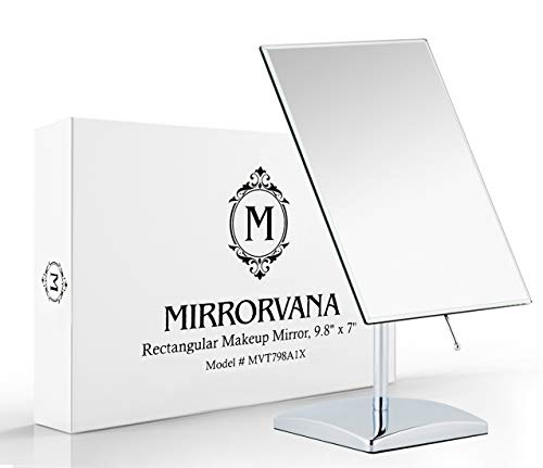 "Mirrorvana Non-Magnifying Vanity Makeup Mirror, Perfect Modern & Elegant Frameless Design for Bedroom or Bathroom, Large 9.8"" x 7"" Rectangular Glass Surface"