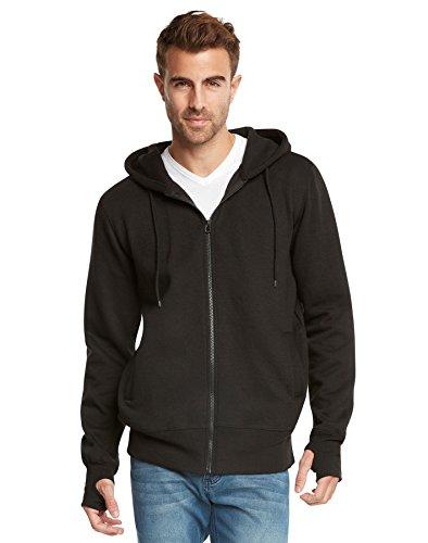 9 Crowns Men's Fleece Full-Zip Ninja Hoodie Essentials-Black-2XL