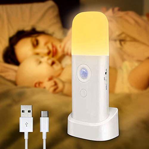 Nachtlicht mit Bewegungsmelder, wiederaufladbar, tragbar, mit USB-Kabel, kabellose Wandleuchte mit automatischem Ein- und Ausschalten, für Schrank, Kleiderschrank, Küche, Treppe, Schlafzimmer