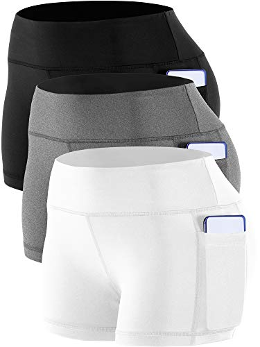 Cadmus Women's Workout Yoga Running Compression Exercise Booty Shorts with Two Side Pockets,3 Pack,09,Black,Grey,White,Small