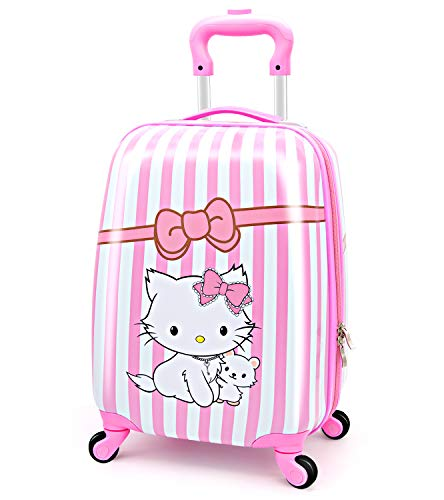 Upgrade Kids Luggage for Girls & Toddler Travel Suitcase - 4 Spinner Wheels, Superior ABS+PC, Hardshell, Carry On Trolley (Lovely Cat/Pink)
