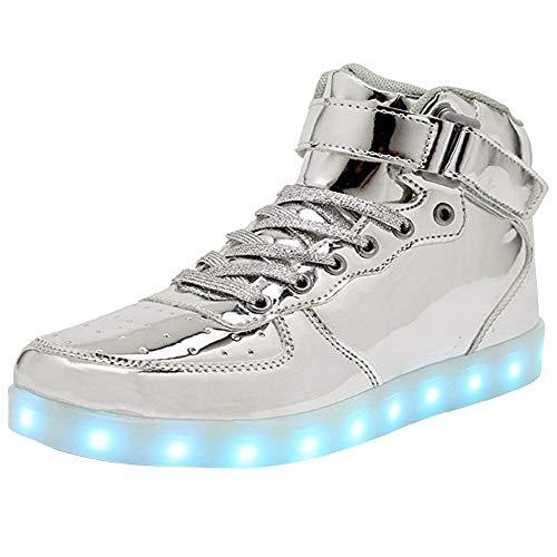 WONZOM Luz LED Superior Alta Zapatos Zapatillas de Deporte con Carga USB para Hombres y mujeres-39(Plata)