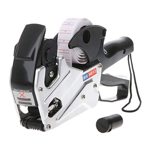 MX-H813 - Etiquetadora de 8 dígitos para etiquetar etiquetas de precios, para tienda minorista, herramienta de visualización de etiquetas de precios + rodillo de tinta