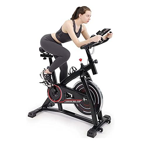Bicicleta estática de giro, bicicleta de interior, monitor de ritmo cardíaco, correa de acción, volante bidireccional, manillar y asiento ajustables, para entrenamiento cardiovascular en el hogar