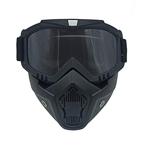 Motorcycle Helmet Riding Goggles Glasses with Removable Face Mask, Detachable Fog-Proof Goggles Mouth Filter,Ski Goggle, Snowboard Goggles