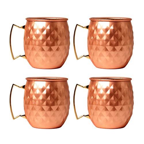 Tazas de Cobre Moscow Mule, Juego de 4 - Tazas de Cobre Hechas a Mano de Cobre Macizo para cóctel Moscow Mule - 550 ml - 18,6 onzas, Oro Rosa, duraderas