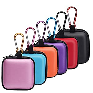 SUNMNS 6 Pieces Headphone Case Earphone Storage Bags Compatible with Wireless Beats Bose Earbuds, Airpods, Bluetooth Sport Headphone with Carabiners