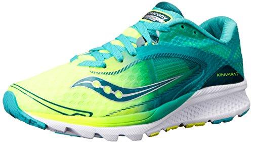 Saucony Kinvara 7 - Zapatillas de Running para Asfalto Mujer, Turquesa (Teal/Citron), 38.5 EU