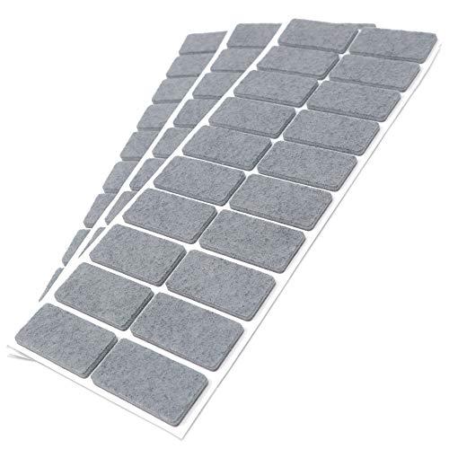 Adsamm®   60 x Filzgleiter   20x40 mm   Grau   rechteckig   3.5 mm starke selbstklebende Filz-Möbelgleiter in Top-Qualität