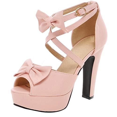LUXMAX Damen High Heels Sandaletten mit Riemchen Schleife Peeptoe Plateau Sandalen Blockabsatz Absatz Schuhe(Rosa 45)