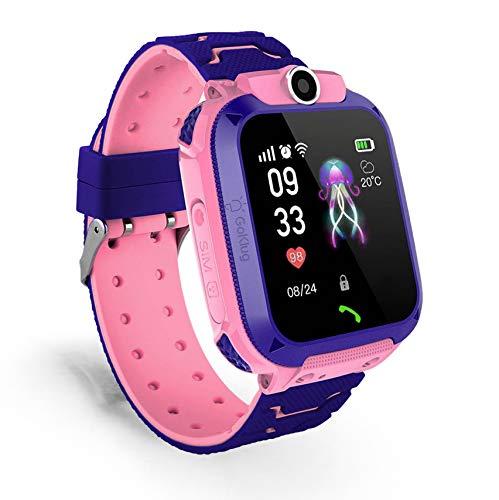Kinderuhr Digital Smart Watch Kinder LPS Ortung Telefon Smartwatch Mit Spiele Kinder Handy Kinderuhr Anruf Funktion Schrittzähler Kinder Telefon Wasserdicht (GPS Pink)