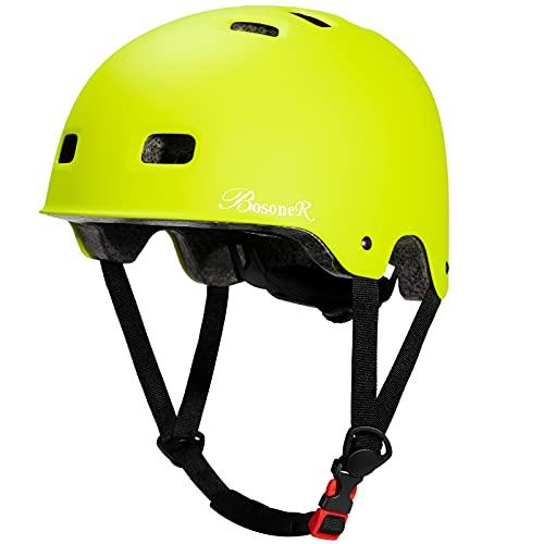 Casco Bicicleta, Casco de monopatín Ajustable multideportivo para niños jóvenes Adultos, Resistencia al Impacto ventilación Seguridad Casco Protector para patineta BMX Patinaje sobre Ruedas en línea
