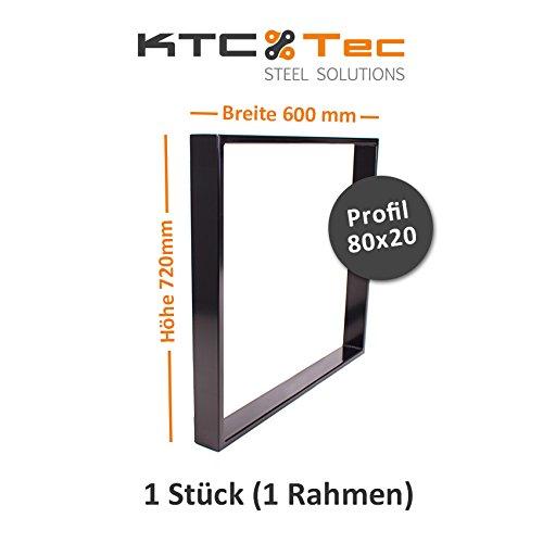 KTC Tec tafelonderstel staal zwart serie TR80s tafelonderstel tafelframe frame frame frame 80 x 20 mm Breite 600 mm - 1 Stück (1 Rahmen) zwart