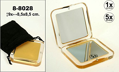 DONREGALOWEB Miroir de sac et main carré avec couvercle en acrylique avec 5 grossissements décoré de couleur dorée