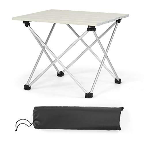 COSTWAY Aluminium opvouwbare campingtafel, lichtgewicht opvouwbare aluminium tafel, oprolbare picknicktafel, draagbare opvouwbare tafel met draagtas voor buiten. Kamperen, wandelen, vissen, BBQ.