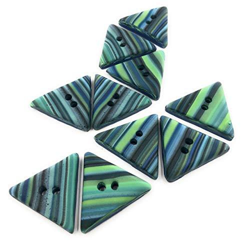 Efimoni 2 Stück, Knöpfe, 36mm, 2 Loch, blau, grün dreieckig, Art.Nr.: K00096