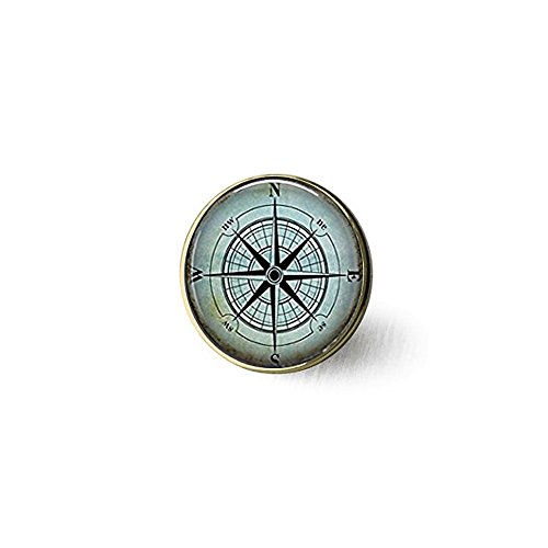 qws Nautische Kompass-Brosche, K...